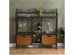 Celtic Bakers Rack w/ Wine Storage in Gunmetal Gray - Southern Enterprises KA9803