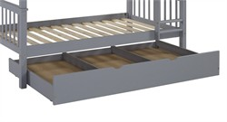 Solid Wood Twin Trundle Bed in Grey - Walker Edison BTW40GY