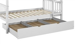 Solid Wood Twin Trundle Bed in White - Walker Edison BTW40WH