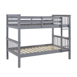 Twin over Twin Solid Wood Mission Design Bunk Bed in Grey - Walker Edison BWTOTMSGY