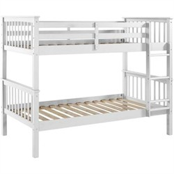 Twin over Twin Solid Wood Mission Design Bunk Bed in White - Walker Edison BWTOTMSWH