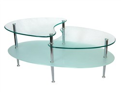 38 Inch Mariner Oval Glass Coffee Table Walker Edison C38B5