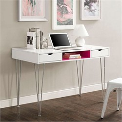 "48"" Color Accent Computer Desk in Hot Pink - Walker Edison D48CA1PK"