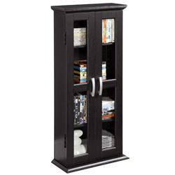 41 Inch Wood DVD Tower in Black Finish Walker Edison DT41BL