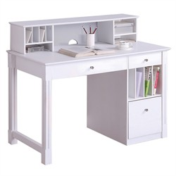 Deluxe Solid Wood White Desk w/ Hutch - Walker Edison DW48D30-DHWH