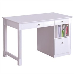 Deluxe Solid Wood White Desk - Walker Edison DW48D30WH