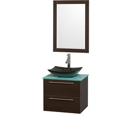 Wyndham WCR410024SESGGGS4M24  24 in. Single Bathroom Vanity in Espresso, Green Glass Countertop, Arista Black Granite Sink, and 24 in. Mirror