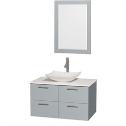 "Wyndham WCR410036SDGWSGS6M24 - Amare 36"" Single Bathroom Vanity in Dove Gray, White Man-Made Stone Countertop, Arista White Carrera Marble Sink & 24"" Mirror"