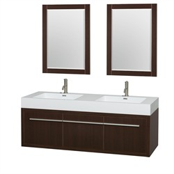 Wyndham WCR430060DESARINTM24 Axa 60 in. Double Bathroom Vanity in Espresso, Acrylic, Resin Countertop, Integrated Sinks, and 24 in. Mirrors