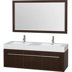 Wyndham WCR430060DESARINTM58 Axa 60 in. Double Bathroom Vanity in Espresso, Acrylic, Resin Countertop, Integrated Sinks, and 58 in. Mirror
