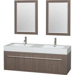 Wyndham WCR430060DGOARINTM24 Axa 60 in. Double Bathroom Vanity in Gray Oak, Acrylic, Resin Countertop, Integrated Sinks, and 24 in. Mirrors