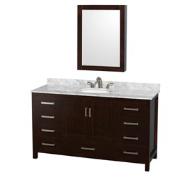 Wyndham-WCS141460SESCMUNOMED Sheffield 60 in. Single Bathroom Vanity in Espresso, White Carrera Marble Countertop, Undermount Oval Sink, and Medicine Cabinet