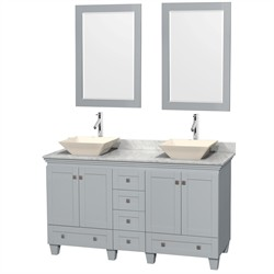"Wyndham WCV800060DOYCMD2BM24 - Acclaim 60"" Double Bathroom Vanity in Oyster Gray, White Carrera Marble Countertop, Pyra Bone Porcelain Sinks & 24"" Mirrors"