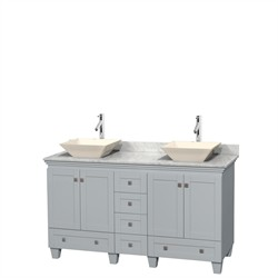 "Wyndham WCV800060DOYCMD2BMXX - Acclaim 60"" Double Bathroom Vanity in Oyster Gray, White Carrera Marble Countertop, Pyra Bone Porcelain Sinks & No Mirrors"