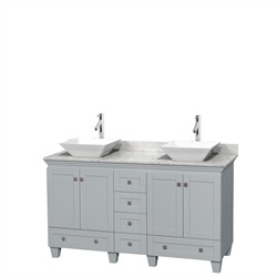 "Wyndham WCV800060DOYCMD2WMXX - Acclaim 60"" Double Bathroom Vanity in Oyster Gray, White Carrera Marble Countertop, Pyra White Porcelain Sinks & No Mirrors"