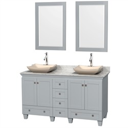 "Wyndham WCV800060DOYCMGS2M24 - Acclaim 60"" Double Bathroom Vanity in Oyster Gray, White Carrera Marble Countertop, Avalon Ivory Marble Sinks & 24"" Mirrors"