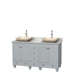 "Wyndham WCV800060DOYCMGS2MXX - Acclaim 60"" Double Bathroom Vanity in Oyster Gray, White Carrera Marble Countertop, Avalon Ivory Marble Sinks & No Mirrors"