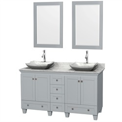 "Wyndham WCV800060DOYCMGS3M24 - Acclaim 60"" Double Bathroom Vanity in Oyster Gray, White Carrera Marble Countertop, Avalon White Carrera Marble Sinks & 24"" Mirrors"