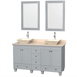 "Wyndham WCV800060DOYIVD2BM24 - Acclaim 60"" Double Bathroom Vanity in Oyster Gray, Ivory Marble Countertop, Pyra Bone Porcelain Sinks & 24"" Mirrors"