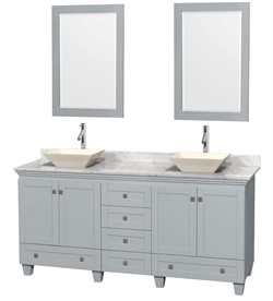 "Wyndham WCV800072DOYCMD2BM24 - Acclaim 72"" Double Bathroom Vanity in Oyster Gray, White Carrera Marble Countertop, Pyra Bone Porcelain Sinks & 24"" Mirrors"