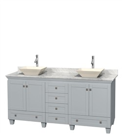 "Wyndham WCV800072DOYCMD2BMXX - Acclaim 72"" Double Bathroom Vanity in Oyster Gray, White Carrera Marble Countertop, Pyra Bone Porcelain Sinks & No Mirrors"