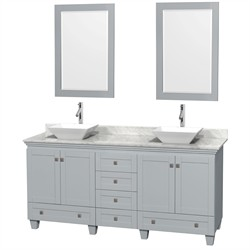 "Wyndham WCV800072DOYCMD2WM24 - Acclaim 72"" Double Bathroom Vanity in Oyster Gray, White Carrera Marble Countertop, Pyra White Porcelain Sinks & 24"" Mirrors"
