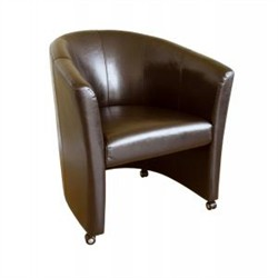 Baxton Studio Club Chair with Wheels A-131-001-DK Brown