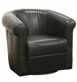 Baxton Studio Julian Black Brown Faux Leather Club Chair with 360 Degree Swivel A-282-Black Brown