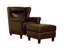 Baxton Studio Dark Brown Leather Club Chair and Ottoman Set A-393 chair/ottoman