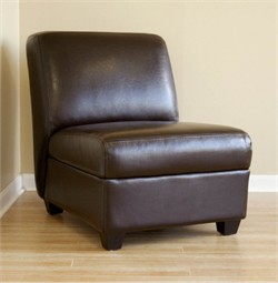Baxton Studio Dark Brown Armless Club Chair A-85-001-Dark BRN