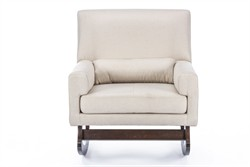 Baxton Studio BBT5121-Light Beige-RC Imperium Wood & Light Beige Linen Contemporary Rocking Chair with Pillow