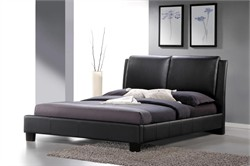 Sabrina Black Modern Bed with Overstuffed Headboard - Queen Size BBT6082-Black-Bed