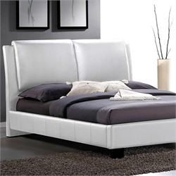 Sabrina White Modern Bed with Overstuffed Headboard - Queen Size BBT6082-White-Bed