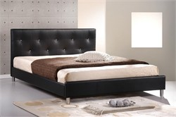 Baxton Studio Barbara Black Modern Bed with Crystal Button Tufting - Queen Size BBT6140-Black-Bed
