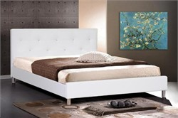 Baxton Studio Barbara White Modern Bed with Crystal Button Tufting - Queen Size BBT6140-White-Bed