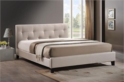 Baxton Studio BBT6140A2-Full-Light Beige 6086-1 Annette Light Beige Linen Modern Bed with Upholstered Headboard - Full Size
