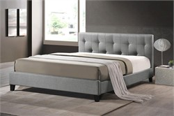 Baxton Studio BBT6140A2-Queen-Grey DE800 Annette Gray Linen Modern Bed with Upholstered Headboard - Queen Size