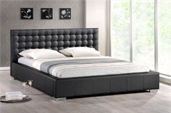 Baxton Studio Madison Black Modern Bed with Upholstered Headboard - Queen Size BBT6183-Black-Bed