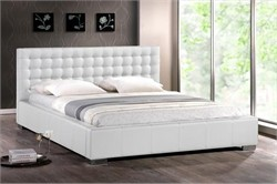 Baxton Studio Madison White Modern Bed with Upholstered Headboard - Queen Size BBT6183-White-Bed