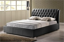 Baxton Studio Bianca Black Modern Bed with Tufted Headboard - Queen Size BBT6203-Black-Bed