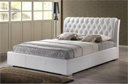 Baxton Studio Bianca White Modern Bed with Tufted Headboard - Queen Size BBT6203-White-Bed
