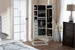 Baxton Studio Vittoria White Finish Wood Square Foot Floor Standing Double Door Storage Jewelry Armoire Cabinet