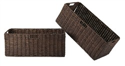 Granville Foldable 2-pc Large Corn Husk Baskets in Chocolate - Winsome Wood 38223