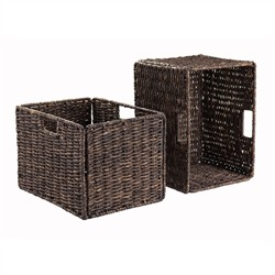 Granville Foldable 2-Pc Tall Baskets Corn Husk - Winsome Wood 38233