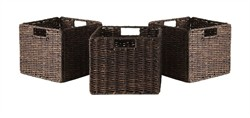 Granville Foldable 3-pc Small Corn Husk Baskets in Chocolate - Winsome Wood 38310