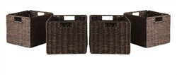 Granville Foldable 4-pc Small Corn Husk Baskets in Chocolate - Winsome Wood 38409