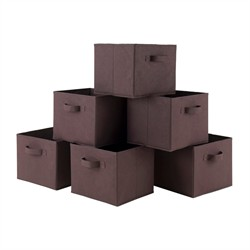 Capri Foldable Chocolate Fabric Baskets (Set of 6) - Winsome Wood 38622