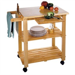 Kitchen Cart w/ Cutting Board & Knife Block - Winsome Wood 89933