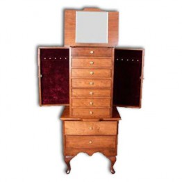 Jewelry Armoire-Queen Anne-large,cherry