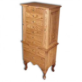 Jewelry Armoire-Queen Anne-large,Oak